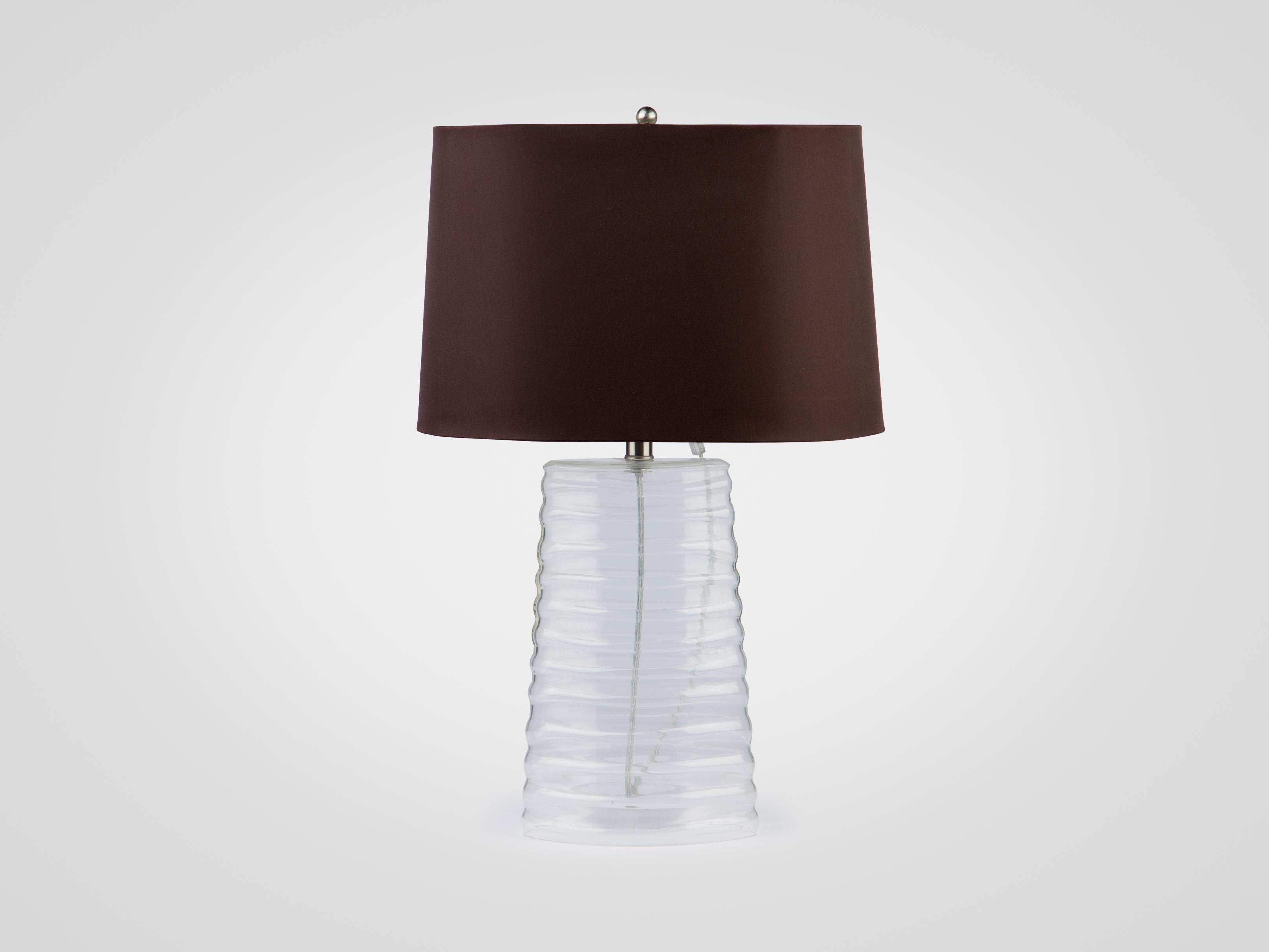 Лампа настольная на ножке из прозрачного стекла с абажуром из сатина, inmyroom, Китай  - Купить