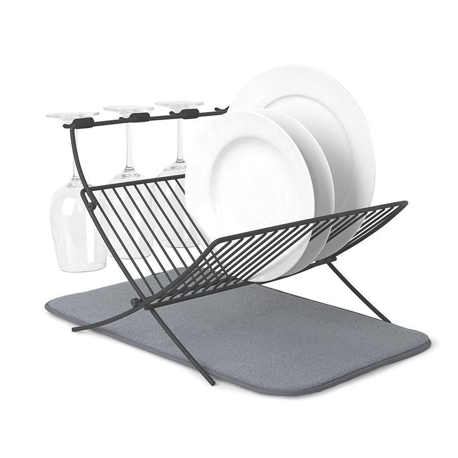 Сушилка для посуды c ковриком Umbra Xdry серая фото