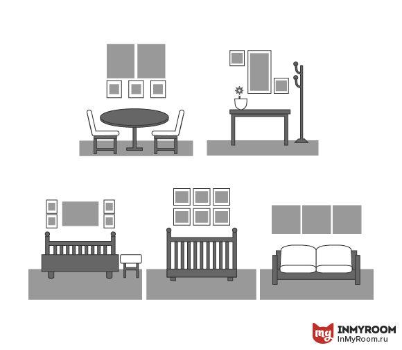Фотография:  в стиле , Советы, Инфографика, как развесить картины в гостиной, как развесить картины в столовой, композиция из прямоугольных картин, композиция из постеров – фото на InMyRoom.ru