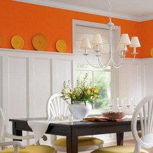Фотография: Кухня и столовая в стиле Кантри, Декор интерьера, Дизайн интерьера, Цвет в интерьере, Оранжевый – фото на InMyRoom.ru