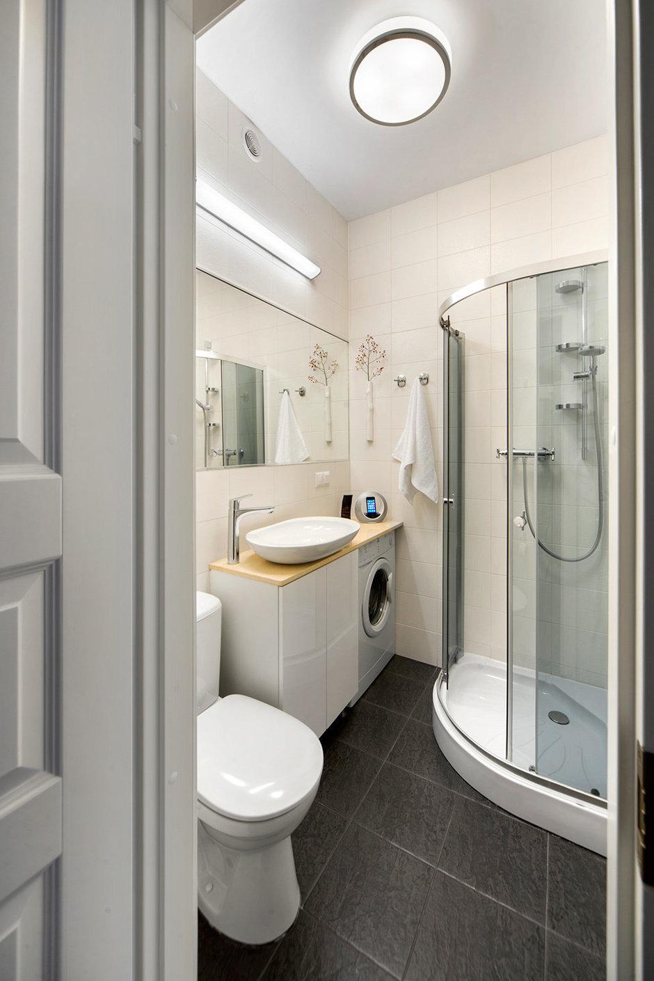 Фотография: Ванная в стиле Современный, Малогабаритная квартира, Квартира, Дома и квартиры, IKEA, Проект недели, Хрущевка – фото на InMyRoom.ru