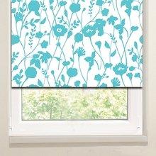Рулонные шторы в гостиную: Голубые васильки