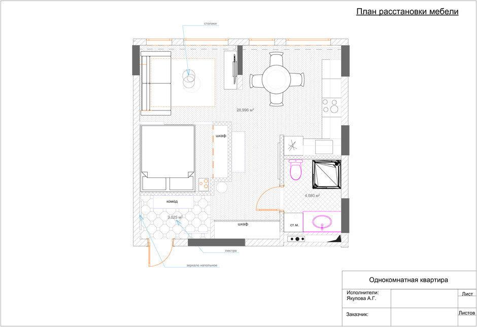 Фотография: Планировки в стиле , Малогабаритная квартира, Квартира, Проект недели, Москва, Монолитный дом, 1 комната, до 40 метров, ЖК Green Park, Анна Якупова – фото на InMyRoom.ru