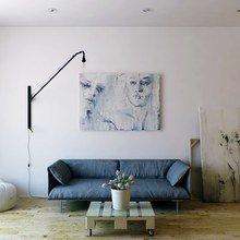 Фотография: Гостиная в стиле Лофт, Минимализм, Малогабаритная квартира, Квартира, Цвет в интерьере, Дома и квартиры, Белый – фото на InMyRoom.ru