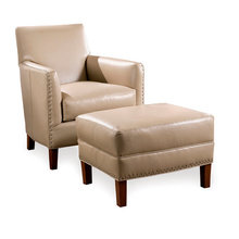 Кресло Calvin (Кожа, Дерево, Tatra Grey)