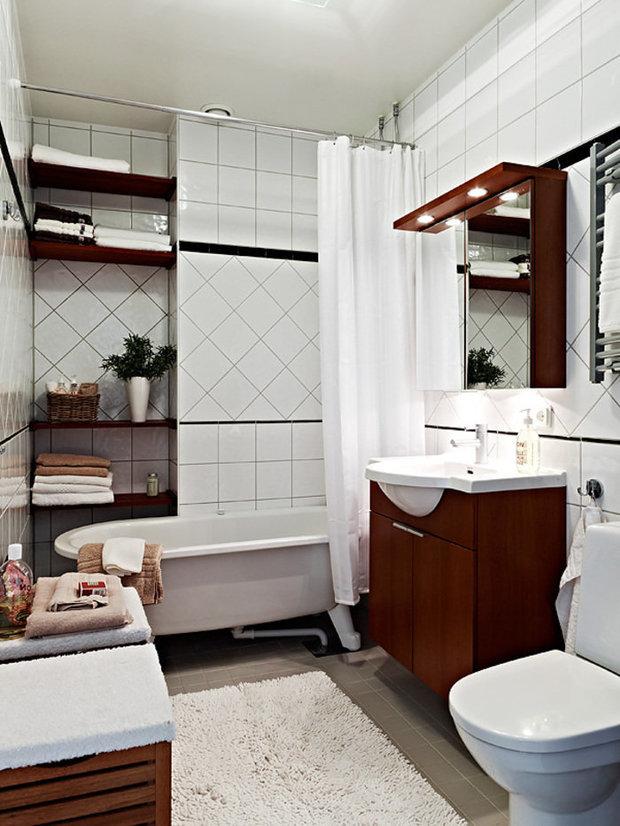 Фотография: Ванная в стиле Скандинавский, Малогабаритная квартира, Интерьер комнат, Советы – фото на InMyRoom.ru