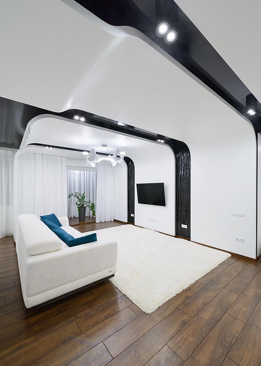 Фотография: Гостиная в стиле Хай-тек, Квартира, Цвет в интерьере, Дома и квартиры, Белый – фото на InMyRoom.ru