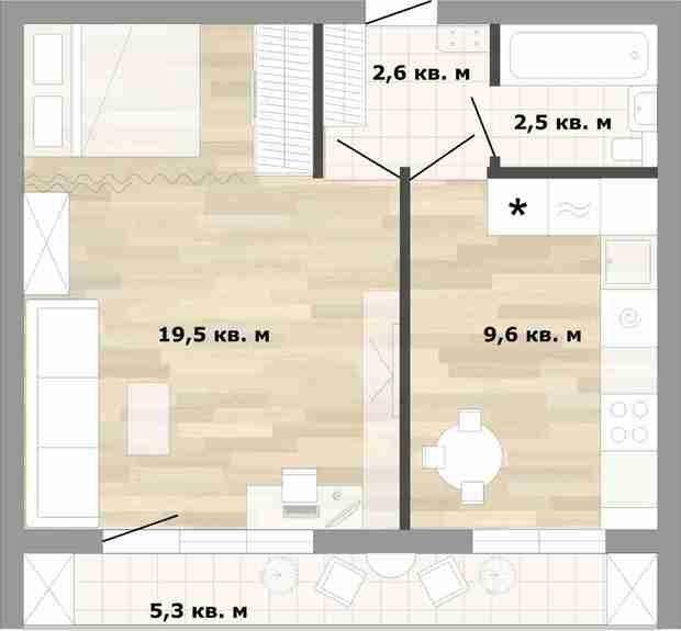 Фотография:  в стиле , Квартира, Перепланировка, как сделать перепланировку в однушке, Катерина Кореневская, перепланировка в однушке, согласовать перепланировку, Блочный дом, II-68-02 – фото на InMyRoom.ru