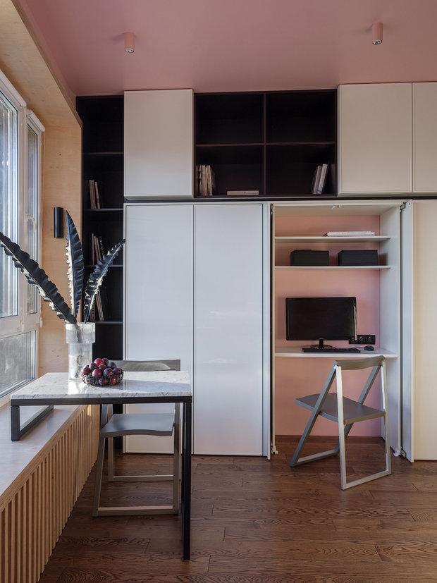 Фотография: Кабинет в стиле Современный, Студия, Советы, напольное покрытие, дизайн квартиры студии, дизайн интерьера студии – фото на INMYROOM