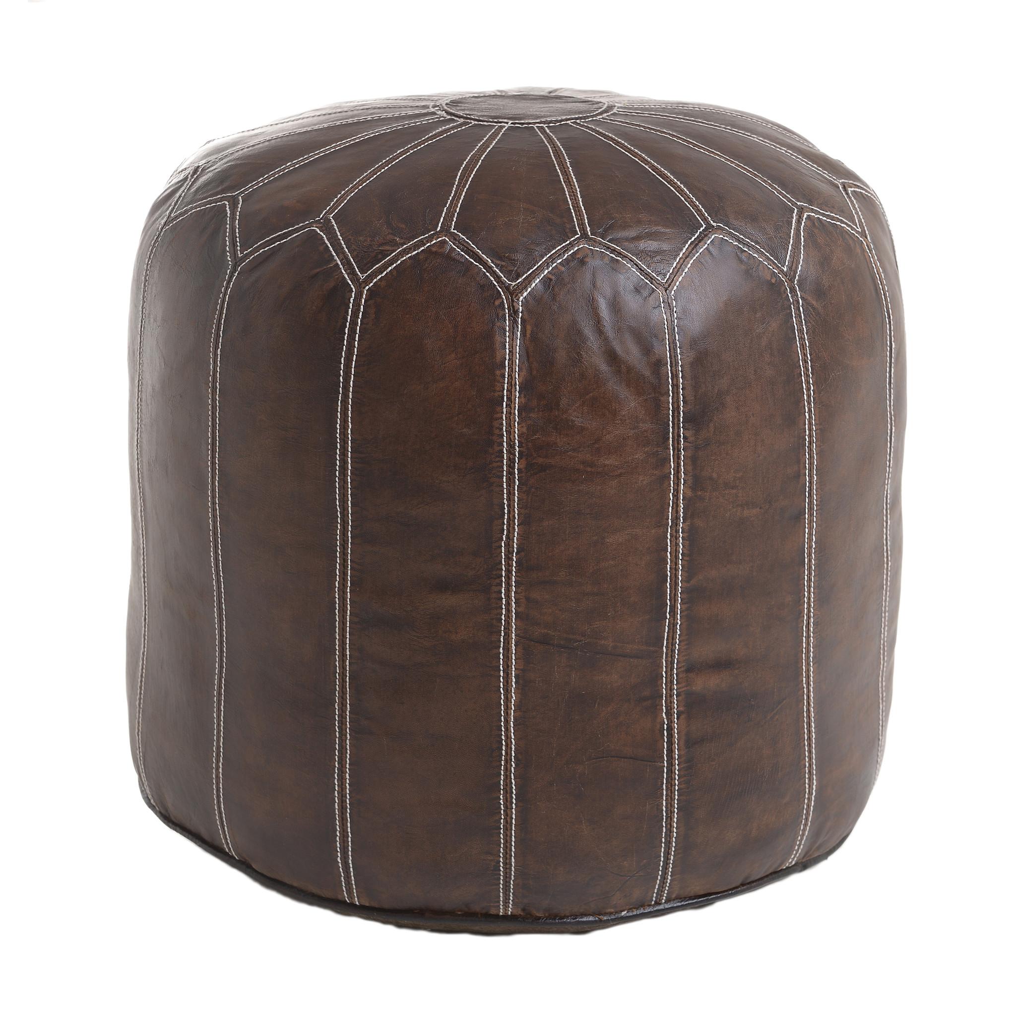 Купить со скидкой Пуф из кожи коричневый