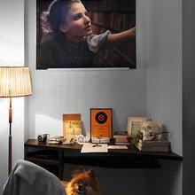 Фотография: Кабинет в стиле Современный, Малогабаритная квартира, Квартира, Дома и квартиры, Гардероб, Принт, Библиотека, Окна – фото на InMyRoom.ru