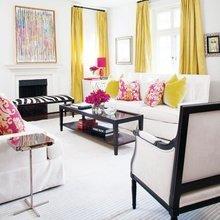 Фотография: Гостиная в стиле , Декор интерьера, Цвет в интерьере, Текстиль, Картины, Желтый – фото на InMyRoom.ru