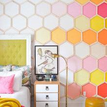 Фотография: Спальня в стиле , Декор интерьера, Цвет в интерьере, Текстиль, Картины, Желтый – фото на InMyRoom.ru