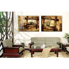 Красивый диптих на холсте: Корабли