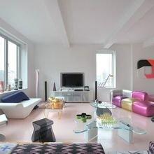 Фотография: Гостиная в стиле Современный, Хай-тек, Лофт, Квартира, Мебель и свет, Дома и квартиры, Карим Рашид – фото на InMyRoom.ru