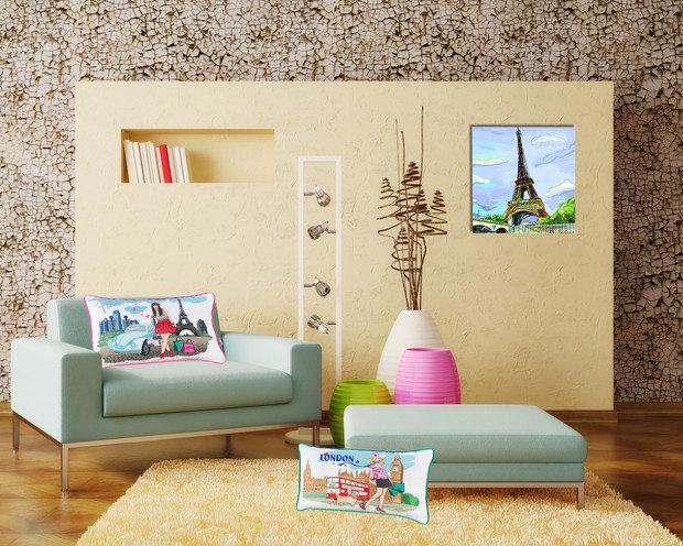 Фотография: Прочее в стиле , Гостиная, Интерьер комнат, Тема месяца, Подушки, Поп-арт – фото на InMyRoom.ru