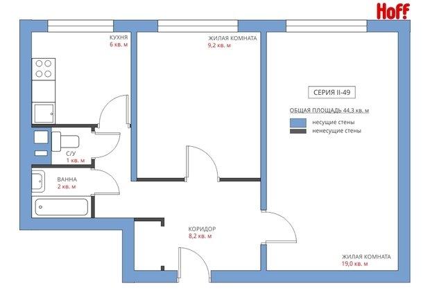 Фотография:  в стиле , Квартира, Планировки, HOFF, Перепланировка, HOFF, II-49, Анастасия Киселева, Панельный дом, 2 комнаты, 40-60 метров – фото на InMyRoom.ru