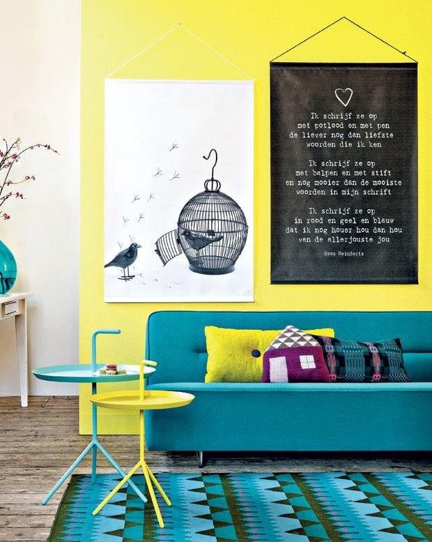 Фотография: Гостиная в стиле Скандинавский, Современный, Декор интерьера, Дизайн интерьера, Цвет в интерьере, Желтый – фото на InMyRoom.ru
