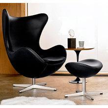 Кресло-яйцо Egg Chair с оттоманкой (кожа)