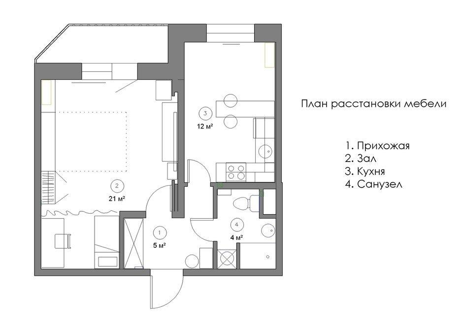 Фотография:  в стиле , Квартира, Минимализм, Проект недели, Эко, Московская область, Марина Козлова, новостройка, Монолитный дом, 1 комната, 40-60 метров – фото на InMyRoom.ru