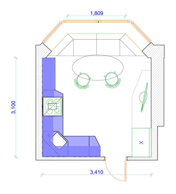 Фотография: Планировки в стиле , Кухня и столовая, Квартира, Дома и квартиры, П44т – фото на InMyRoom.ru