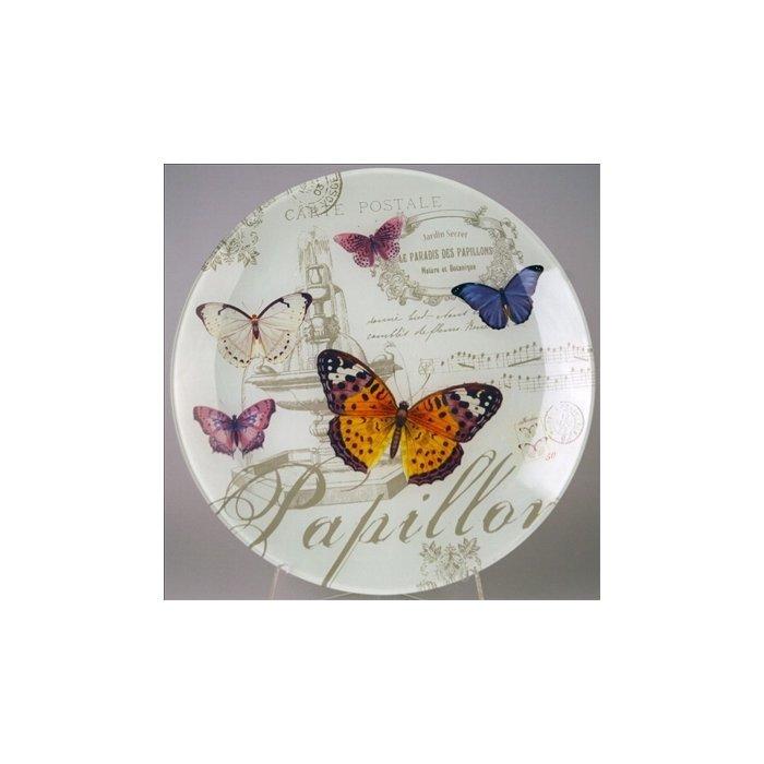Тарелка стеклянная круглая Бабочки
