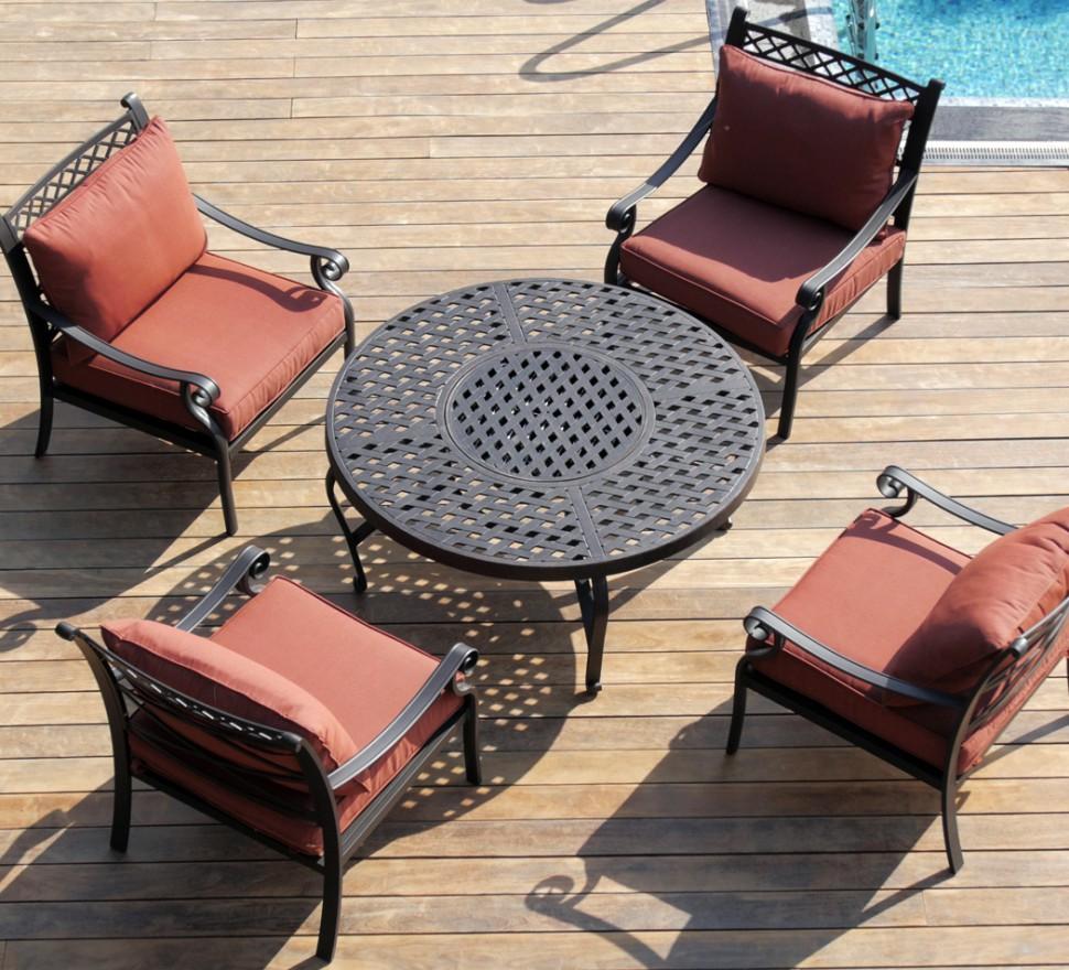 Купить Комплект садовой мебели из литого алюминия Фудзи стол с барбекю на четыре персоны, inmyroom