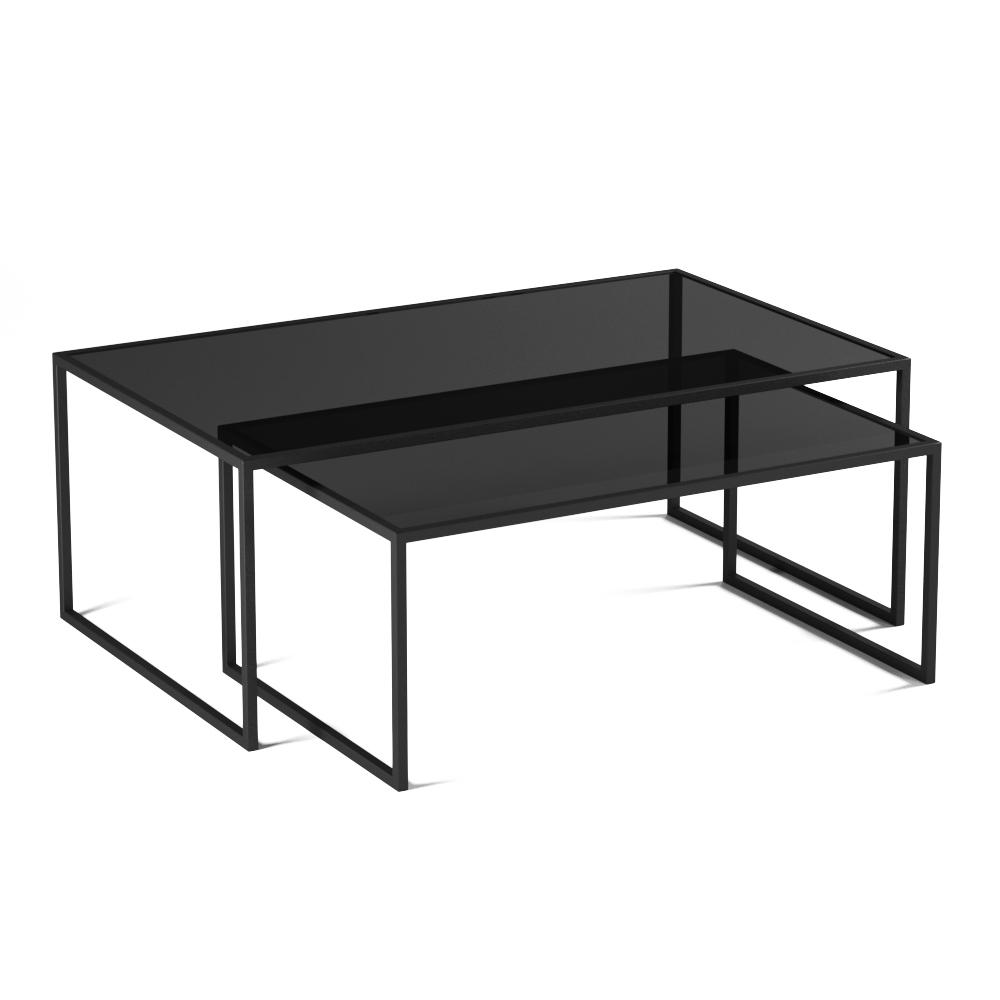 Купить Комплект журнальных столов Set 1 Black черное стекло на ножках из стали, inmyroom, Россия