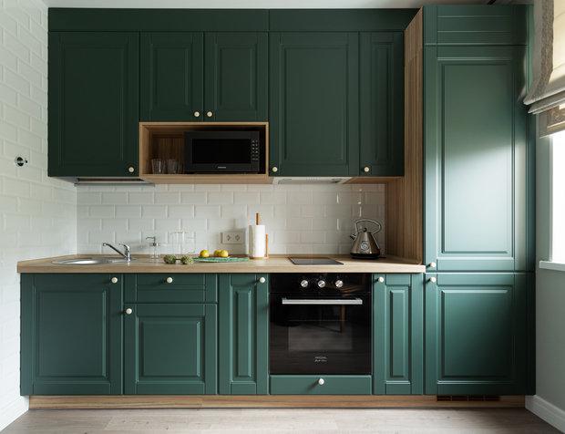 Красивый зеленый оттенок фасадов привлекает внимание и создает настроение.