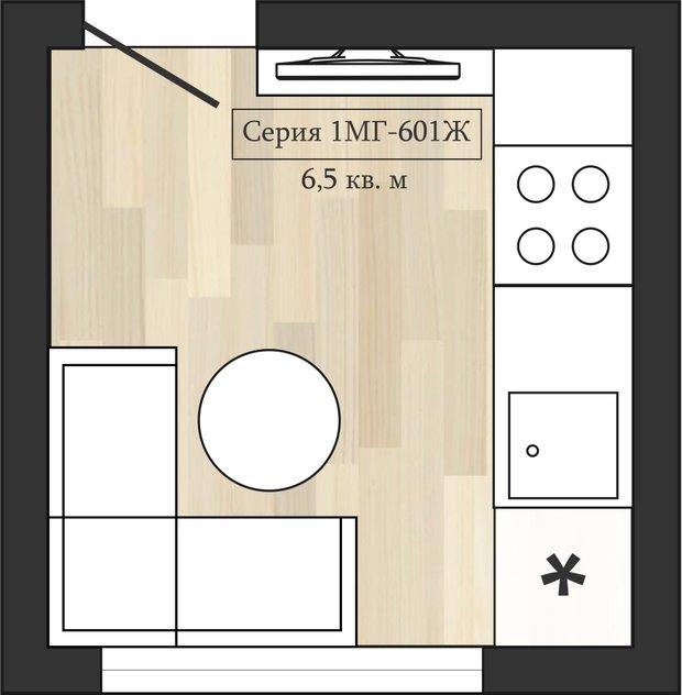 Фотография: Планировки в стиле , Кухня и столовая, Перепланировка, Анастасия Киселева, Максим Джураев, II-57, II-18-12 – фото на InMyRoom.ru