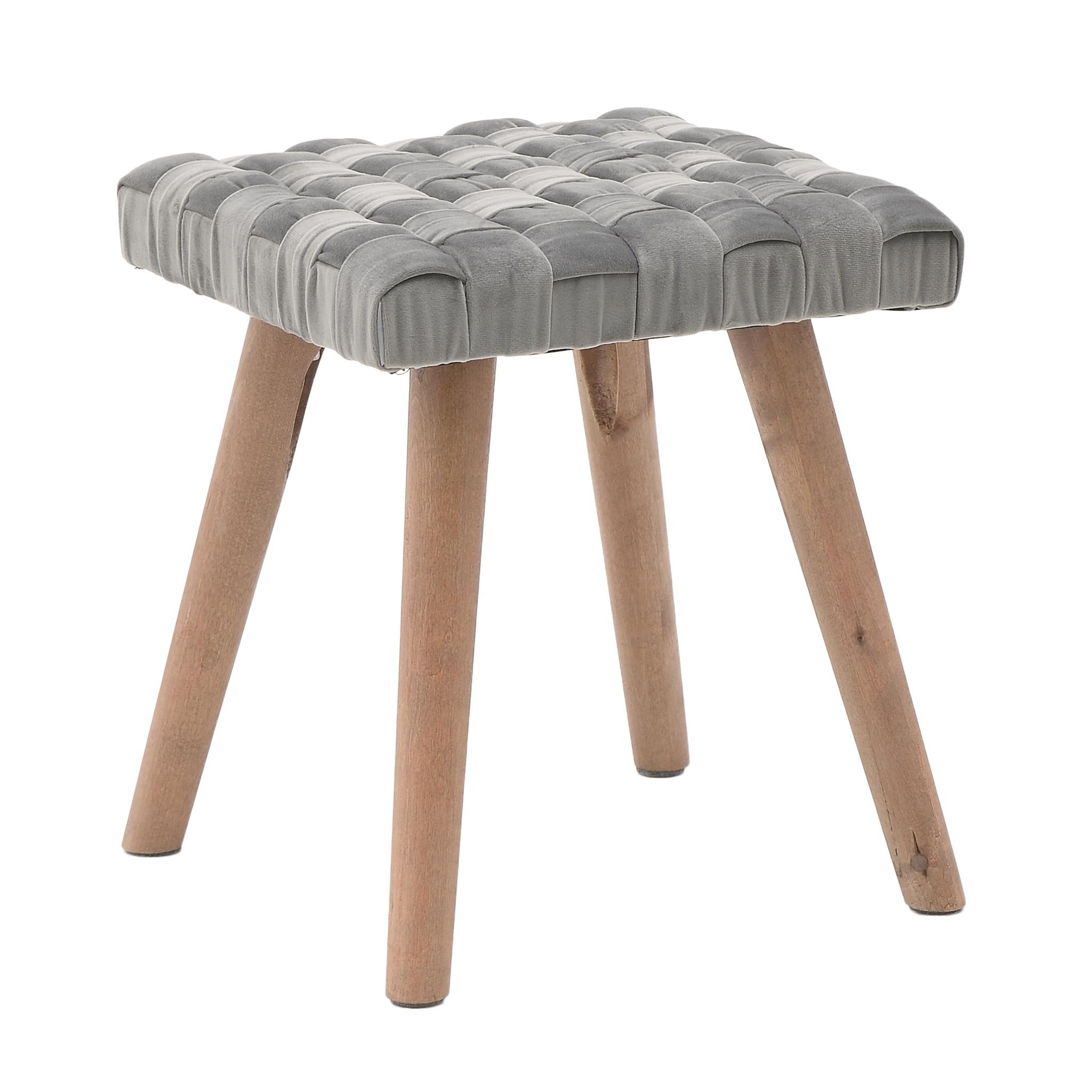 Табурет серого цвета на деревянных ножках