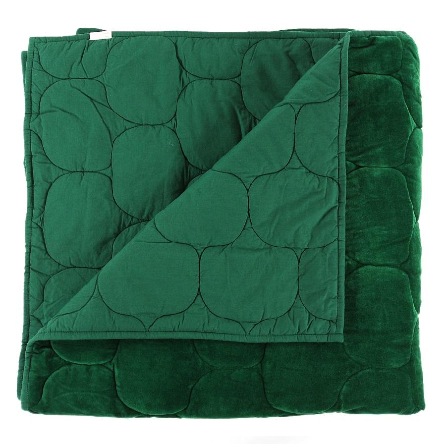 Купить со скидкой Покрывало стеганое бархатное хвойное утро зеленого цвета 230х250