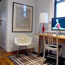 Фотография: Кабинет в стиле Скандинавский, Малогабаритная квартира, Квартира, Цвет в интерьере, Дома и квартиры, Стены, Нью-Йорк, Системы хранения, Квартиры – фото на InMyRoom.ru