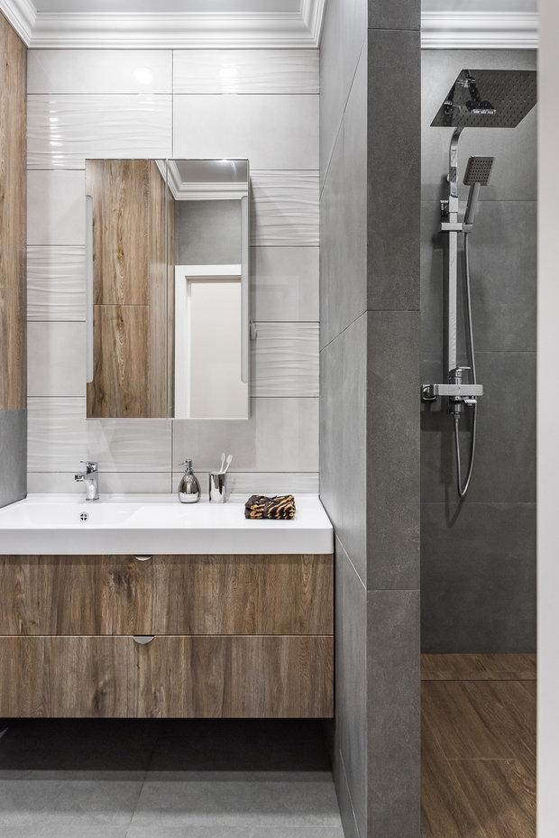 Фотография: Ванная в стиле Современный, Квартира, Проект недели, 3 комнаты, 60-90 метров, Тюмень, Александра Хасанова – фото на INMYROOM