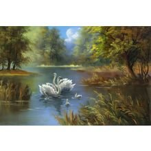 "Декоративная картина на холсте ""Лебеди в пруду"""