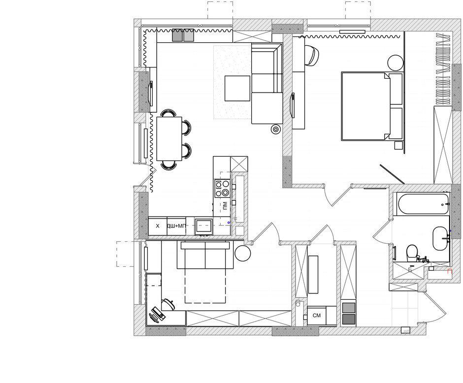 Фотография: Планировки в стиле , Квартира, Проект недели, Киев, 3 комнаты, 60-90 метров, Монолитно-кирпичный, Руслан Ковальчук, Artpartner, ЖК «Французский квартал» – фото на InMyRoom.ru