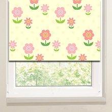 Рулонные шторы на кухню: Розовые ромашки