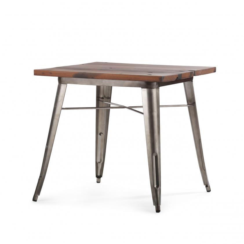 """Обеденный стол """"Tolix"""" из гальванизированной стали со столешницей из массива"""