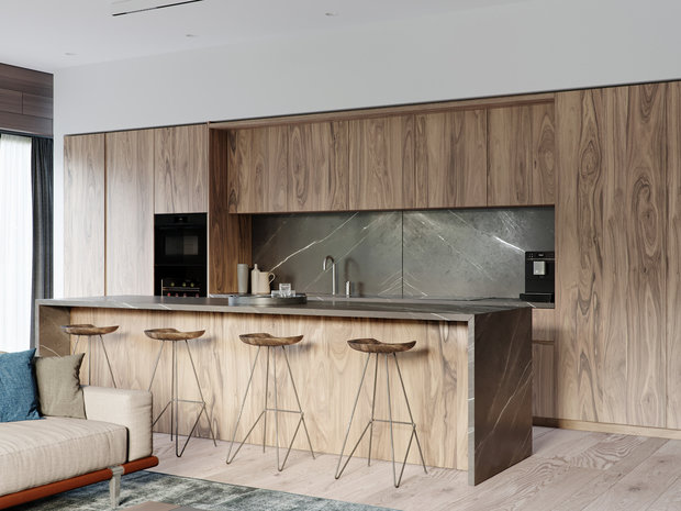 Фотография: Кухня и столовая в стиле Эко, Квартира, Проект недели, 4 и больше, Более 90 метров, Ab-architects, Level Barvikha – фото на INMYROOM