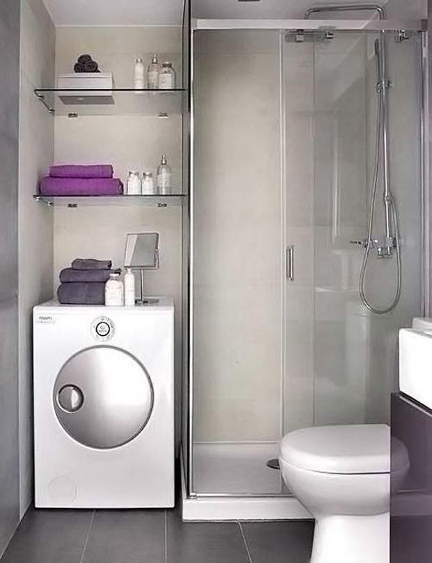 Как встроить стиральную машину в ванной фото