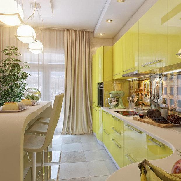 Фотография:  в стиле , Кухня и столовая, Советы, Черный, Бежевый, Оранжевый – фото на InMyRoom.ru