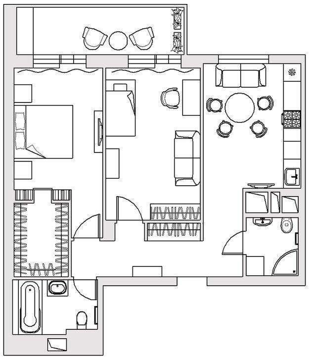 Фотография: Планировки в стиле , Балкон, Интерьер комнат – фото на InMyRoom.ru
