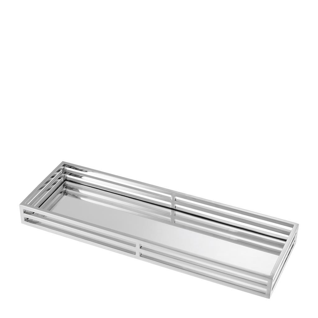 Поднос Ersa Eichholtz из никелированного металла и зеркального стекла
