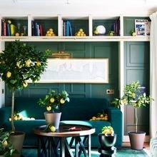 Фотография: Гостиная в стиле Кантри, Декор интерьера, Дизайн интерьера, Цвет в интерьере, Черный, Желтый, Синий, Серый – фото на InMyRoom.ru