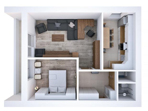 Фотография: Планировки в стиле , Квартира, Дома и квартиры, Перепланировка, II-68-03, Блочный дом, 2 комнаты, 40-60 метров – фото на InMyRoom.ru