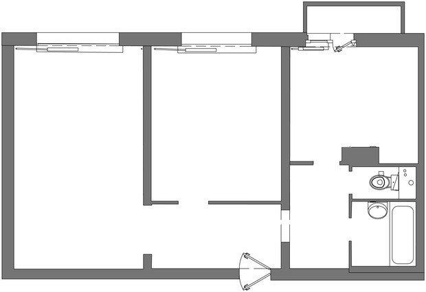 Фотография: Планировки в стиле , Квартира, Проект недели, Москва, Мила Колпакова, Панельный дом, 2 комнаты, 40-60 метров, КОПЭ-85 – фото на INMYROOM