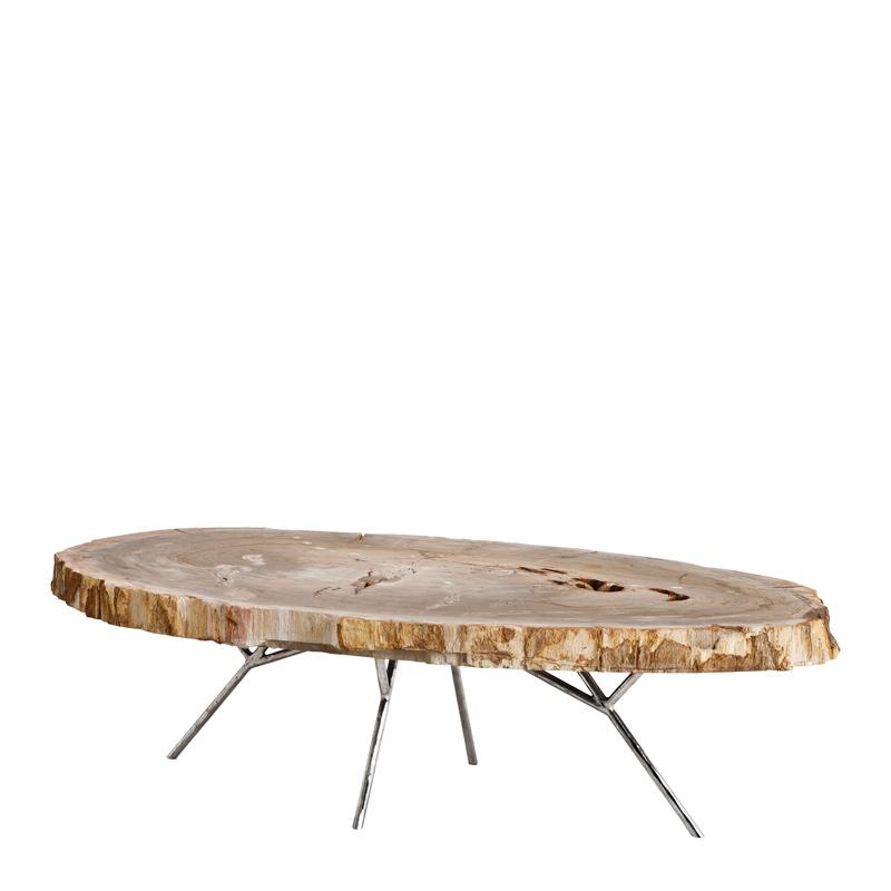 Журнальный столик Eichholtz Coffee Table Barrymore с оригинальной столешницей из окаменелой древесины