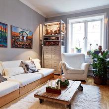 Фотография: Гостиная в стиле Современный, Скандинавский, Малогабаритная квартира, Квартира, Цвет в интерьере, Дома и квартиры, Белый, Гетеборг – фото на InMyRoom.ru