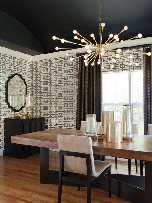 Фотография: Кухня и столовая в стиле Эклектика, Декор интерьера, Дизайн интерьера, Цвет в интерьере, Потолок – фото на InMyRoom.ru