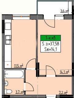38 м²